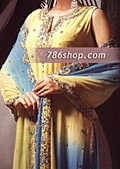 Yellow/Turquoise Crinkle Chiffon Suit- Pakistani Formal Designer Dress