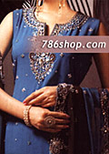 Blue/Dark Brown Crinkle Chiffon Suit- Pakistani Formal Designer Dress