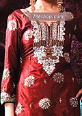 Red/Turquoise Silk Suit- Pakistani Formal Designer Dress
