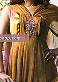 Mustard/Blue Crinkle Chiffon Suit- Pakistani Formal Designer Dress