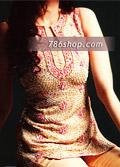 Golden Chiffon Trouser Suit- Pakistani Party Wear Dress