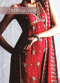 Red Chiffon Trouser Suit- Pakistani Party Wear Dress
