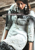 Light Grey Chiffon/Jamawar Suit