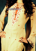 Cream Chiffon Suit- Pakistani Party Wear Dress