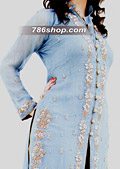 Sky Blue/Golden Crinkle Chiffon Suit- Pakistani Formal Designer Dress