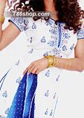 White/Blue Chiffon Trouser Suit- Pakistani Formal Designer Dress