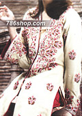 Off-White/Red Silk Suit- Pakistani Formal Designer Dress
