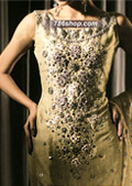 Golden Chiffon Suit- Pakistani Formal Designer Dress