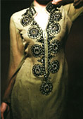 Light Green Crinkle Chiffon Suit- Indian Designer Clothing