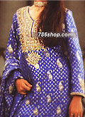 Royal Blue Jamawar Zarri Suit  - Pakistani Party Wear Dress
