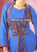 Turquoise/Red Crinkle Chiffon Suit   - Pakistani Party Wear Dress
