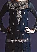 Navy Blue Crinkle Chiffon Suit - Pakistani Formal Designer Dress