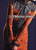 Rust Orange Crinkle Chiffon Suit- Pakistani Party Wear Dress