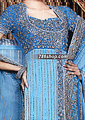 Turquoise Crinkle Chiffon Suit - Pakistani Party Wear Dress