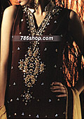 Dark Brown Crinkle Chiffon Suit- Pakistani Formal Designer Dress