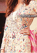 Fawn/Hot Pink Chiffon Suit    - Pakistani Party Wear Dress