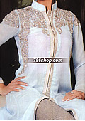 Sky Blue/Grey Crinkle Chiffon Suit     - Pakistani Formal Designer Dress