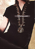 Black Crinkle Chiffon Suit    - Pakistani Party Wear Dress