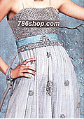 Off-white/Turquoise Crinkle Chiffon - Pakistani Party Wear Dress