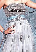 Off-white/Turquoise Crinkle Chiffon - Pakistani Formal Designer Dress