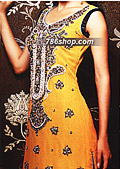 Yellow/Black Crinkle Chiffon Suit- Pakistani Formal Designer Dress