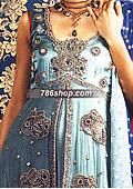 Turquoise Crinkle Chiffon Suit    - Pakistani Formal Designer Dress