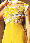 Yellow Crinkle Chiffon Suit    - Pakistani Formal Designer Dress