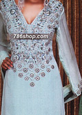Light Turquoise Crinkle Chiffon Suit    - Pakistani Formal Designer Dress