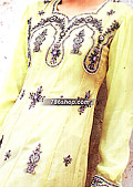 Yellow/Purple Crinkle Chiffon Suit    - Pakistani Party Wear Dress