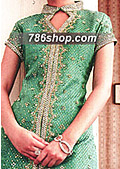 Green Jamawar Suit- Pakistani Party Wear Dress