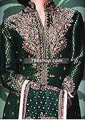 Dark Green Jamawar Zari Suit- Pakistani Party Wear Dress