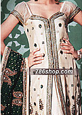 Off-White/Green Jamawar Lehnga- Pakistani Formal Designer Dress