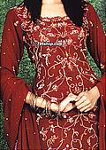 Maroon Crinkle Chiffon Suit   - Pakistani Party Wear Dress