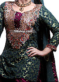 Green/Magenta Jamawar Zarri Gharara - Pakistani Party Wear Dress