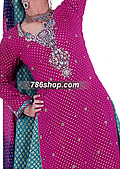 Magenta/Sea Green Jamawar Zarri Lehnga- Pakistani Party Wear Dress