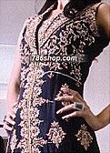 Navy Blue Crinkle Chiffon Suit