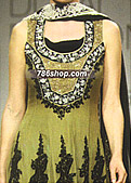 Mehndi Green Crinkle Chiffon Suit - Pakistani Formal Designer Dress