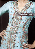 Sea Green/Navy Blue Crinkle Chiffon Suit - Pakistani Party Wear Dress