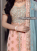 Peach/Sea Green Jamawar Chiffon Suit- Pakistani Party Wear Dress