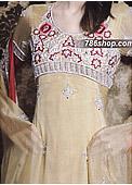 Light Golden Crinkle Chiffon Suit - Pakistani Formal Designer Dress