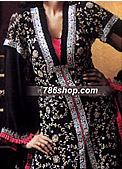 Black Crinkle Chiffon Suit- Pakistani Party Wear Dress