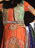 Orange/Light Green Silk Suit- Pakistani Formal Designer Dress
