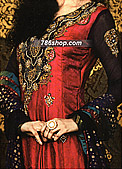 Deep Red Jamawar Suit - Pakistani Party Wear Dress
