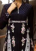 Navy Blue Crinkle Chiffon Suit- Pakistani Formal Designer Dress