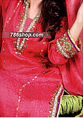 Hot Pink/Lime Green Jamawar Suit- Pakistani Party Wear Dress