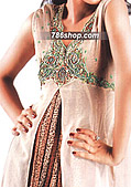 Off-White/Golden Crinkle Chiffon Suit - Pakistani Formal Designer Dress