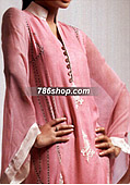 Pink/Off-White Crinkle Chiffon Suit- Pakistani Party Wear Dress