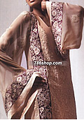 Beige Crinkle Suit- Pakistani Party Wear Dress