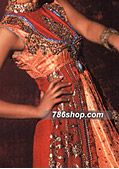 Red Jamawar/Chiffon Suit  - Pakistani Wedding Dress