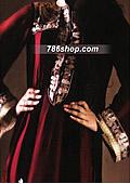 Maroon Crinkle Chiffon Suit  - Pakistani Formal Designer Dress